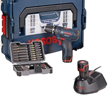 Bosch Akkubohrschrauber-Set GSR 10,8-2-LI Professional blau L-BOXX, 2x Akku (1,3 Ah), Bitset 43 tlg. - 1